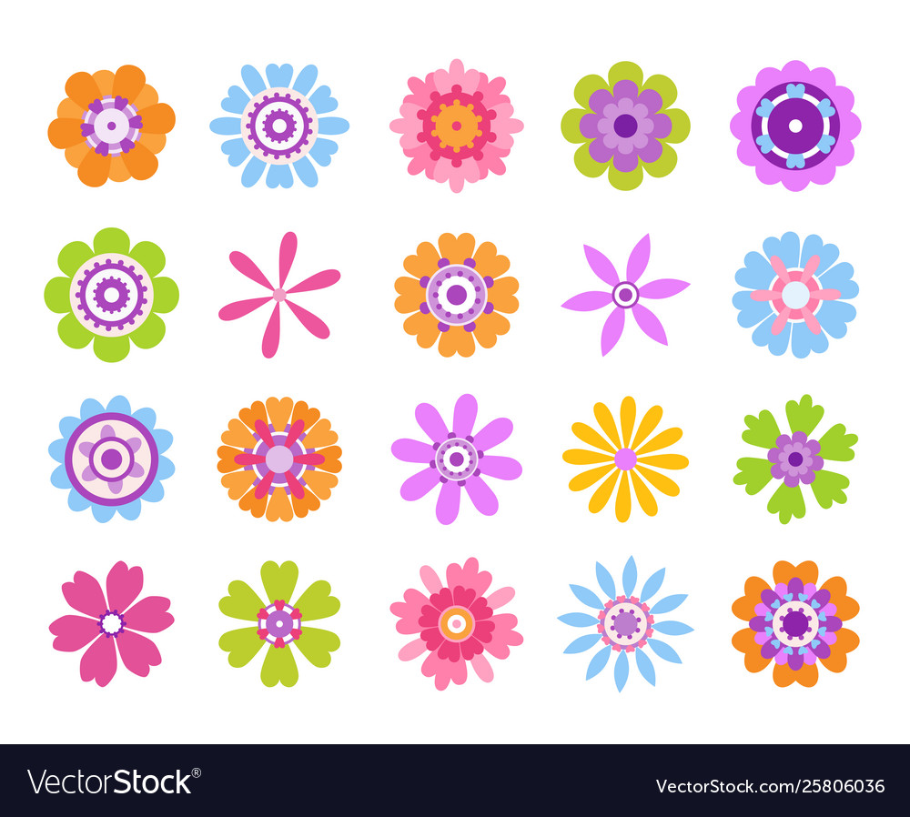 Cartoon flower icons summer cute girly stickers