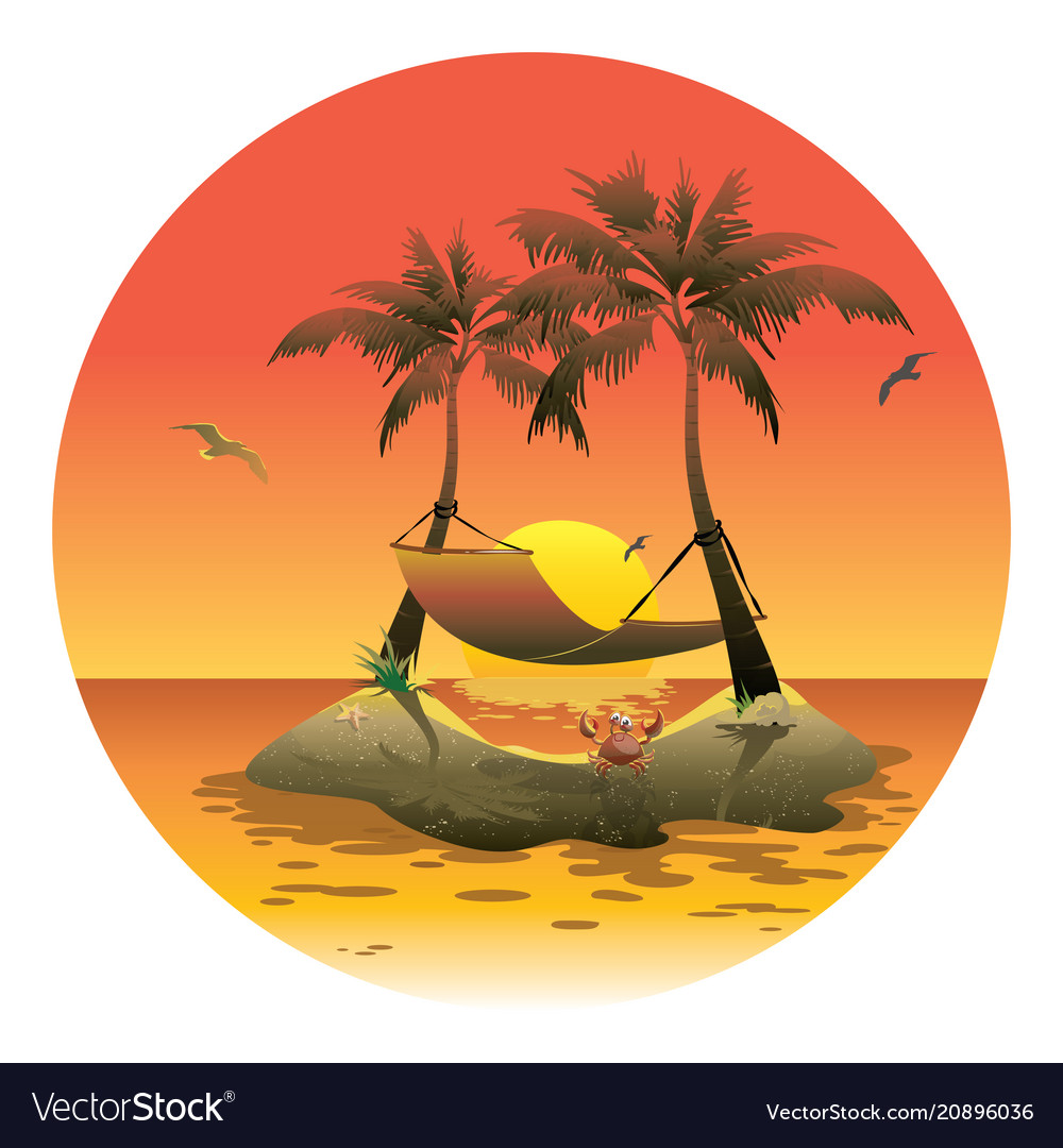 Cartoon island with a hammock at sunset