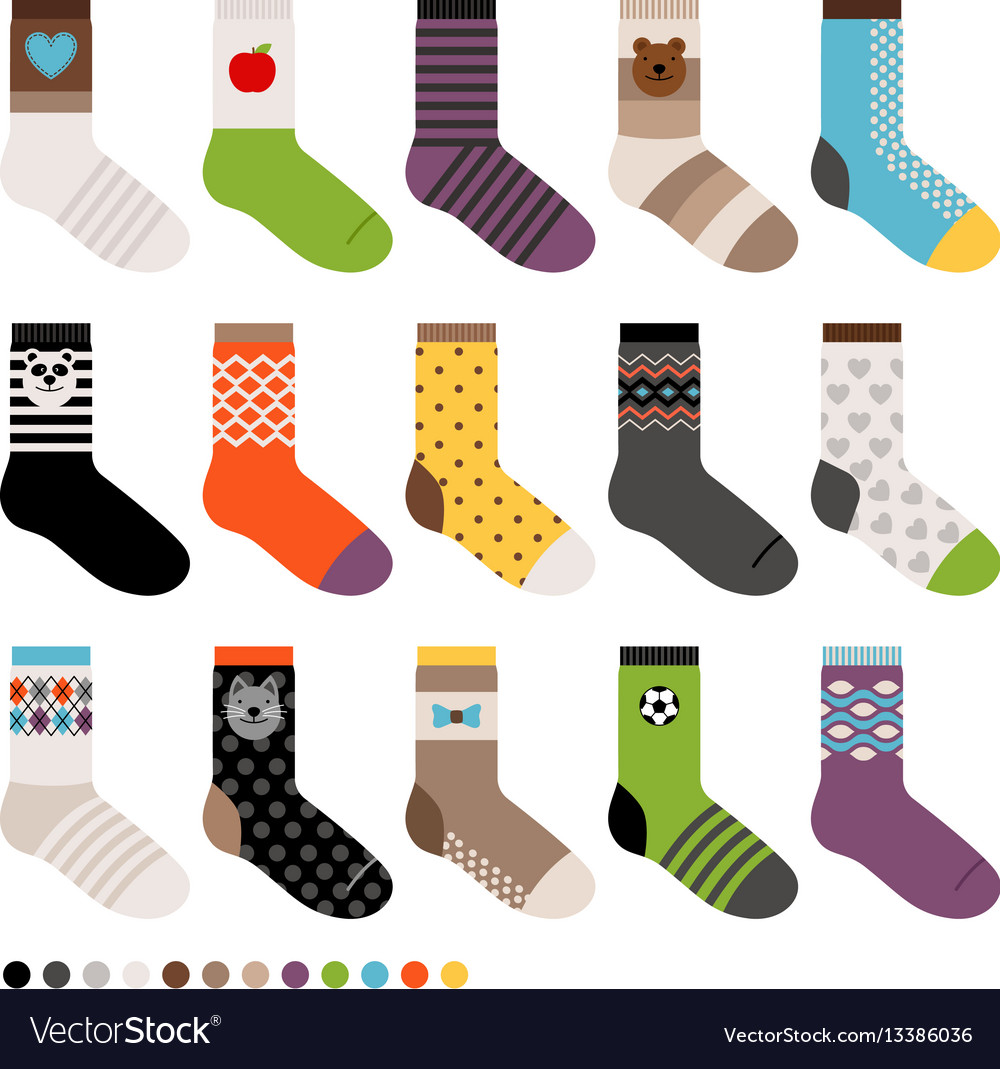 Children socks icon set