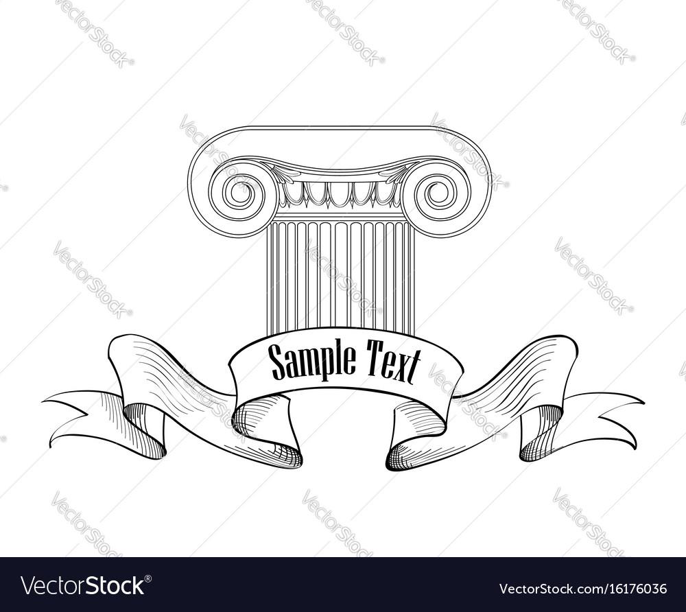 Classic architectural label roman ionic column