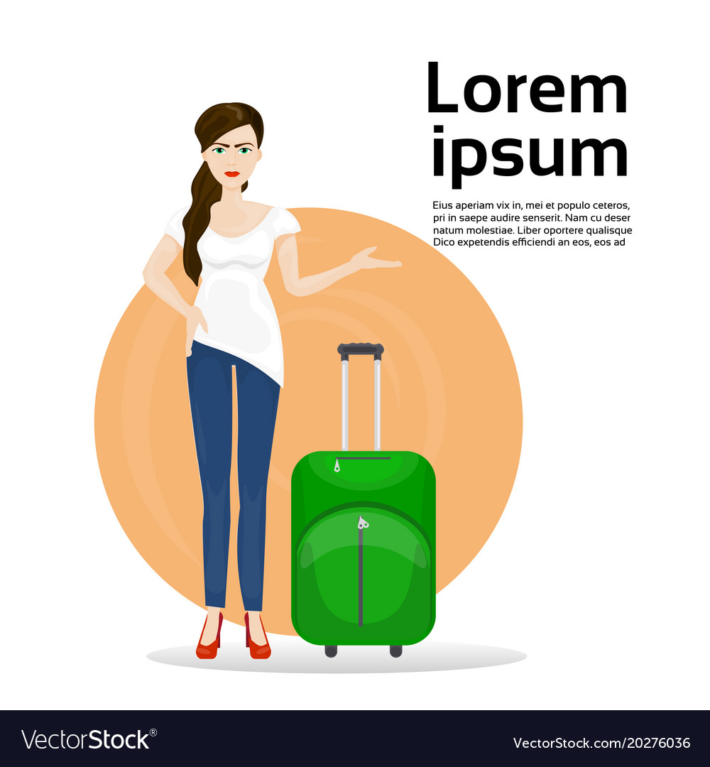 Girl with luggage suitcase over background with