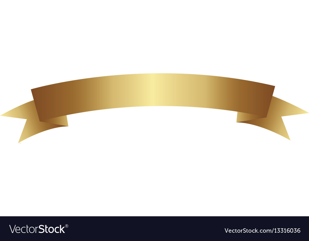 Gold color glossy ribbon icon design vector image