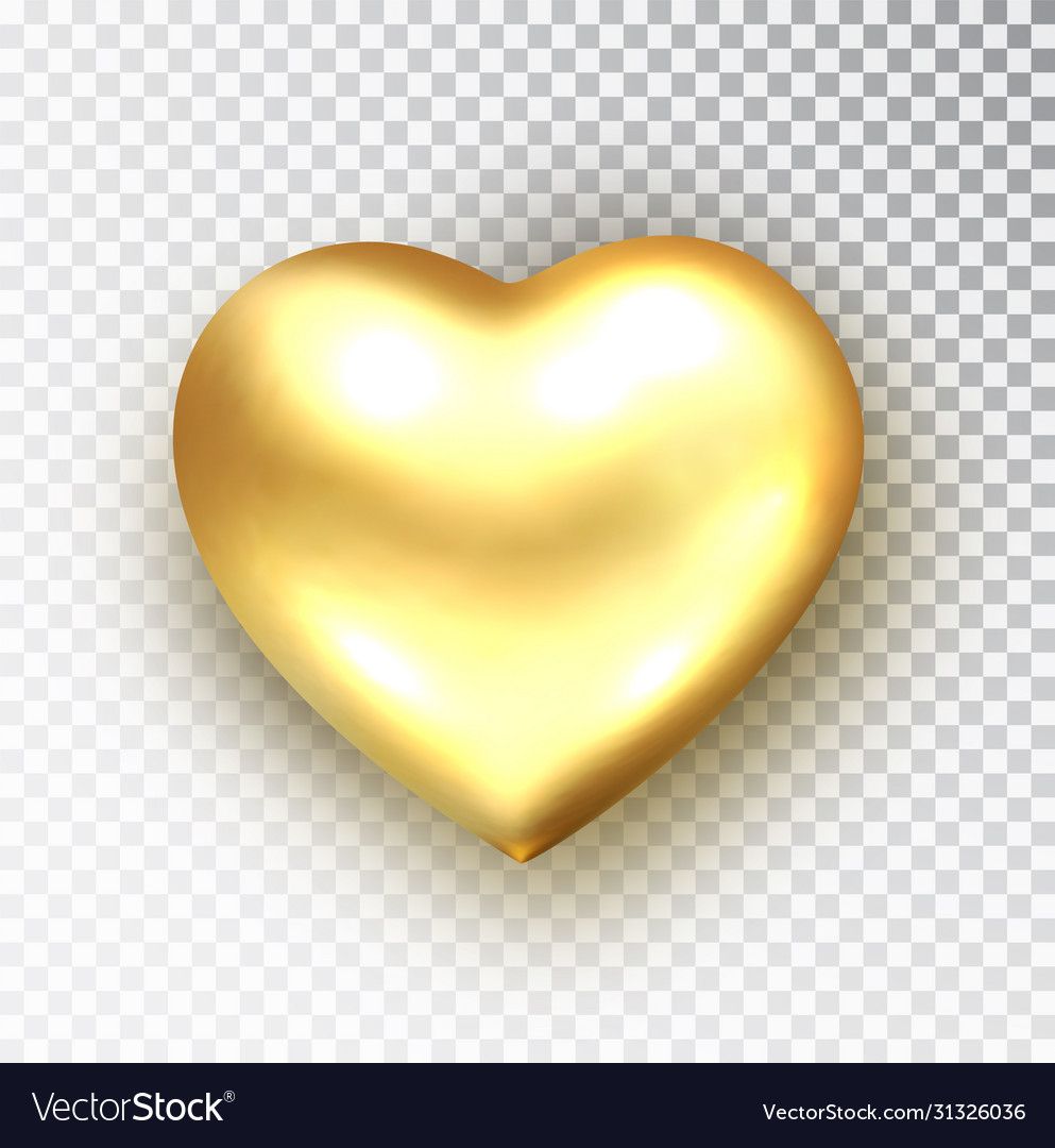 Gold heart isolated realistic metallic