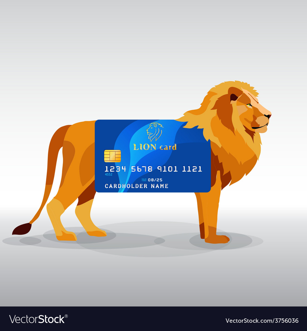 Gredit card hung on king lion
