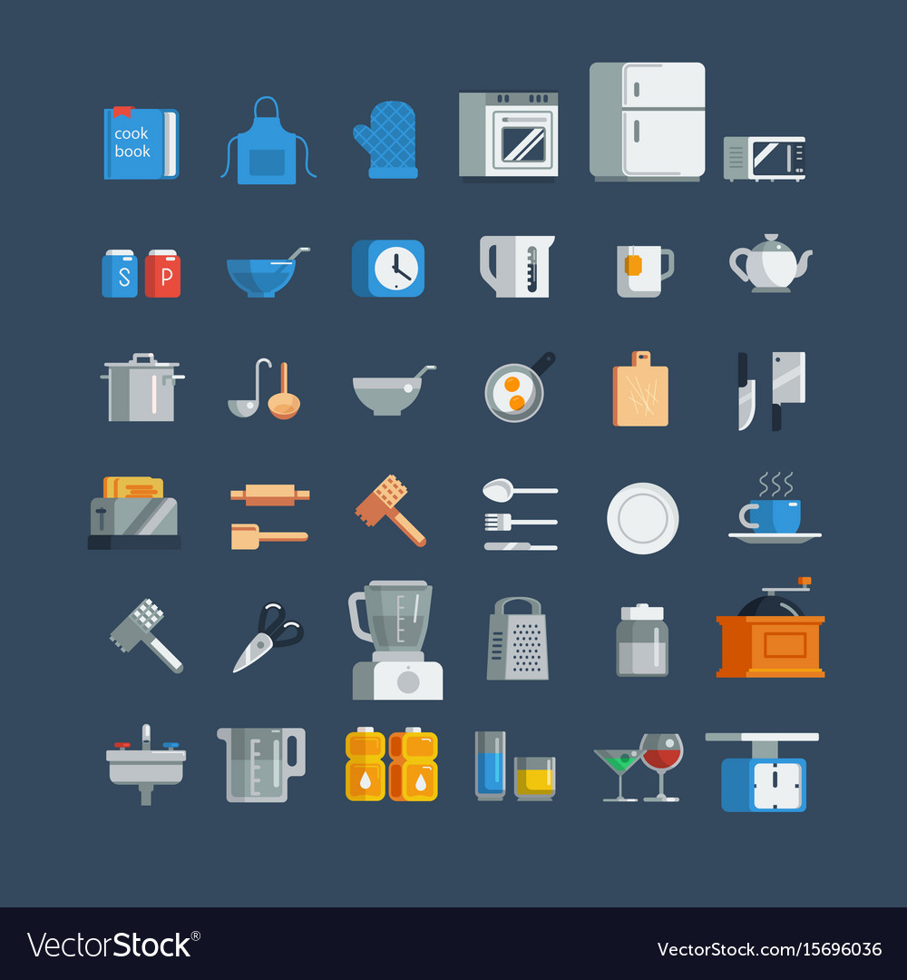 Kitchen utensils icons set vector image