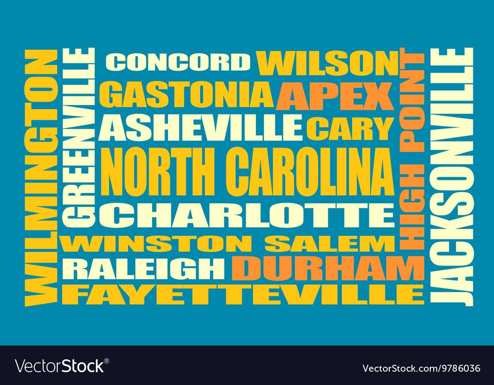 North Carolina state cities list vector image
