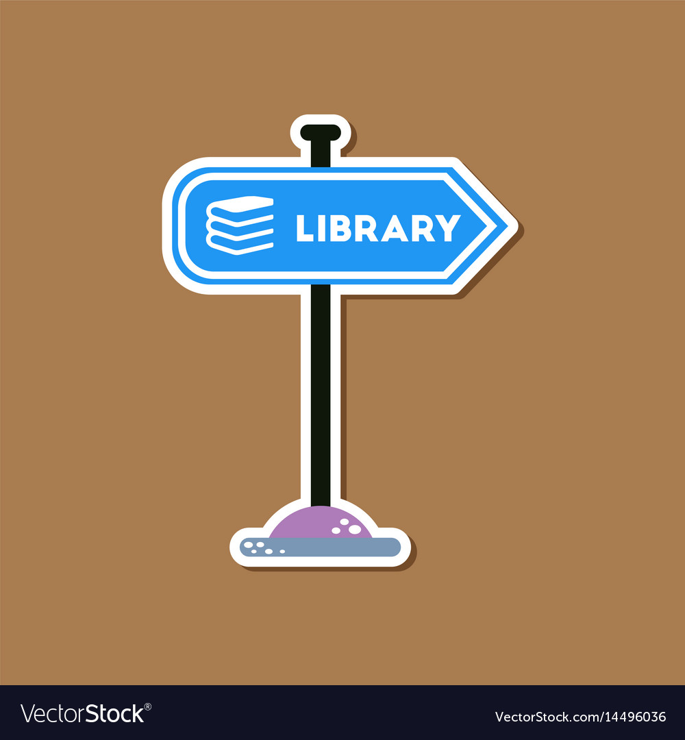 Paper sticker on stylish background sign library