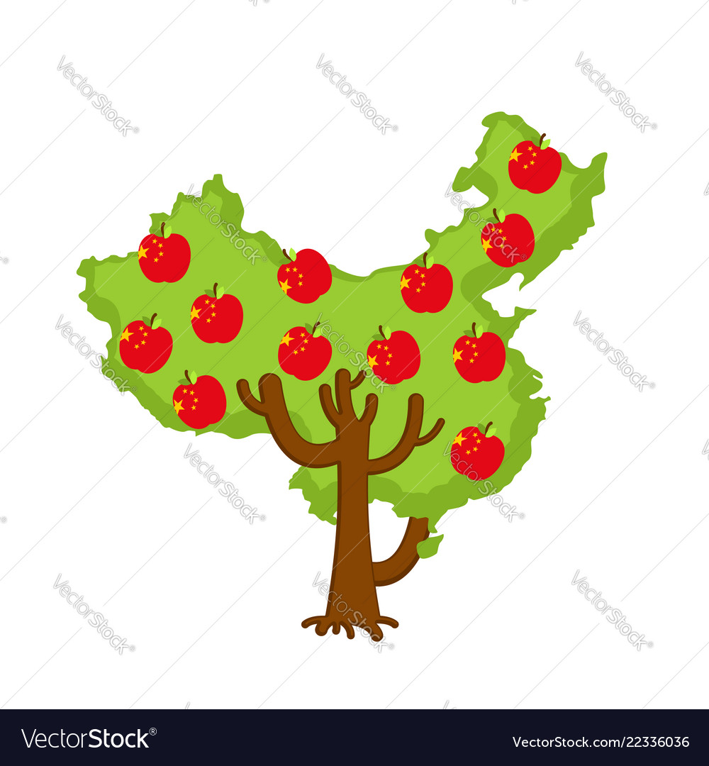 Patriotic apple tree china map apples chinese