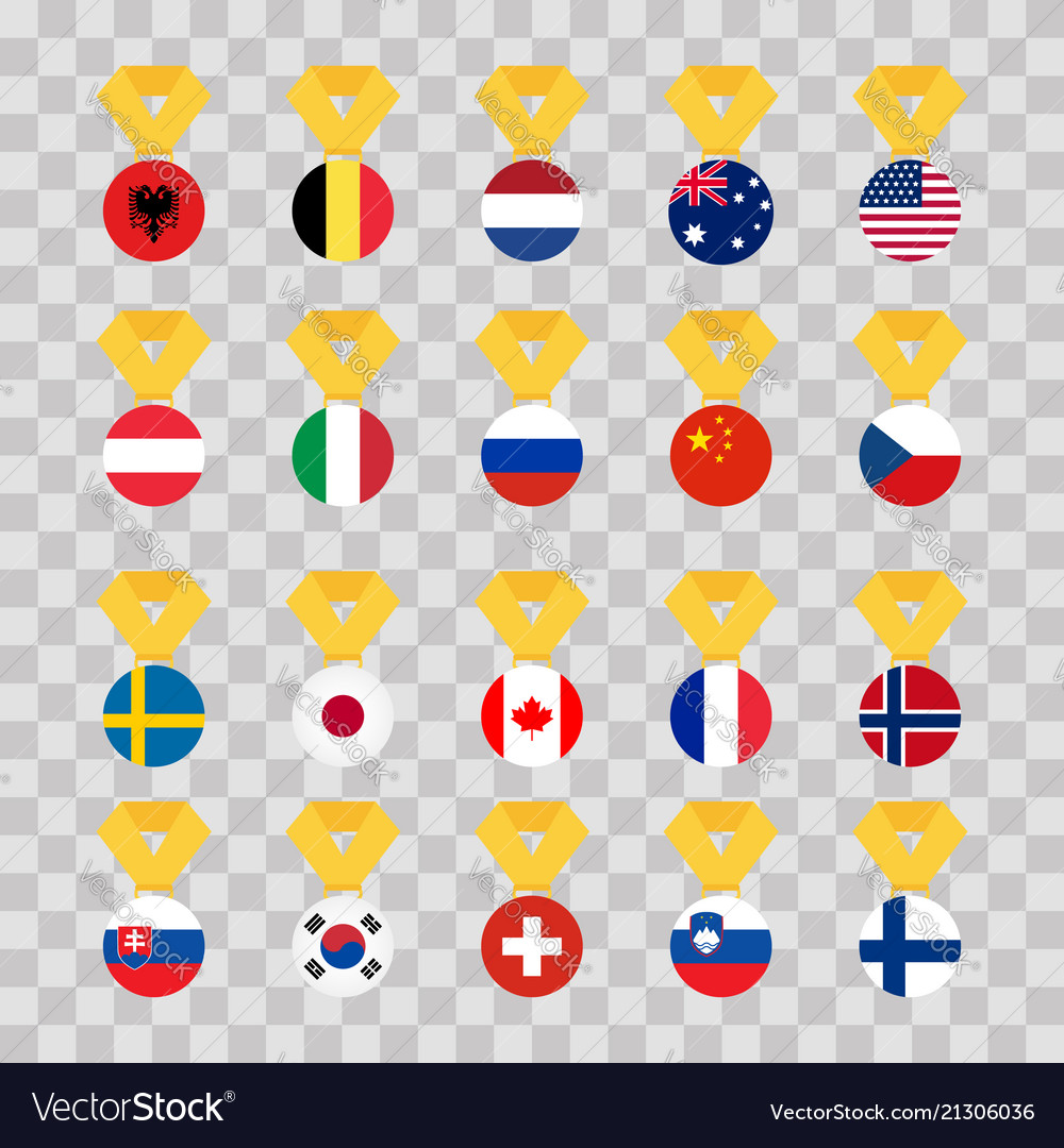 Set national flags of the world on transparent