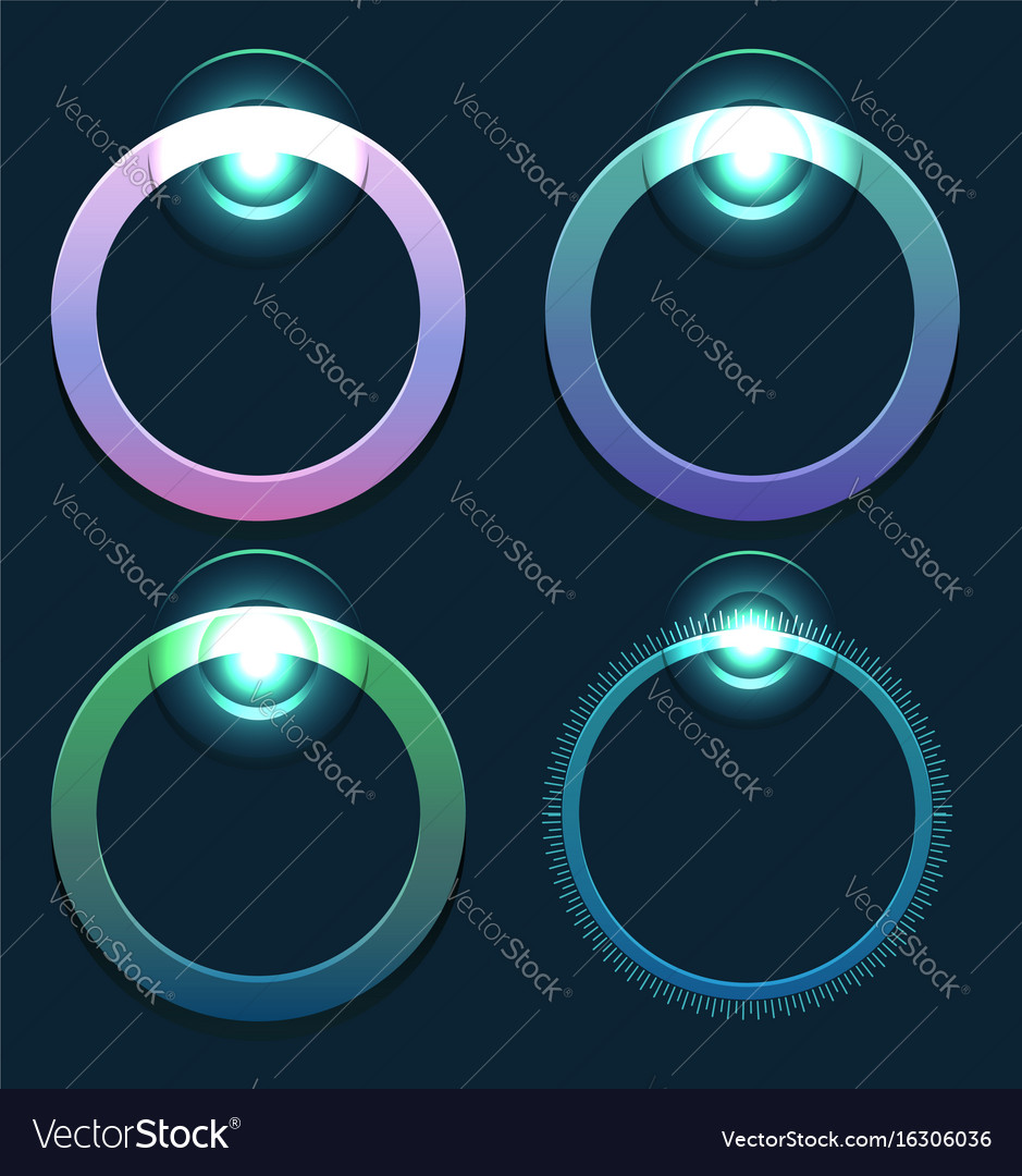 Set of glowing round sliders element for web
