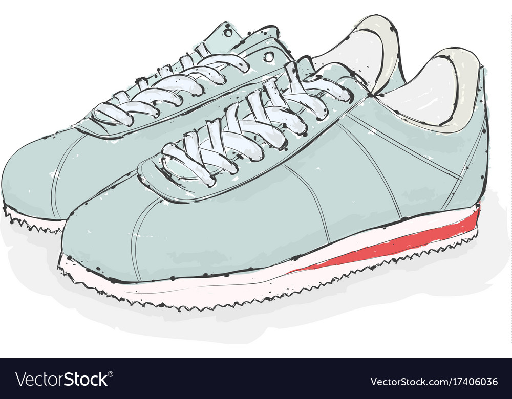 Sneakers hand draw shoes