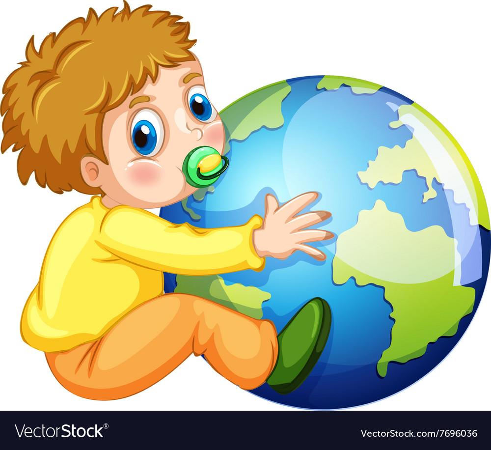 Todler hugging the earth