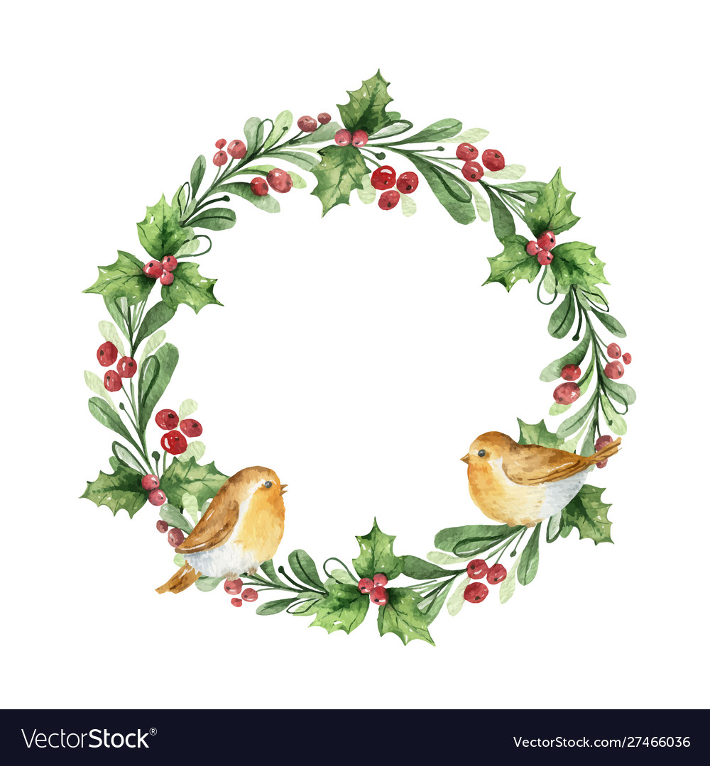 Watercolor christmas wreath with fir