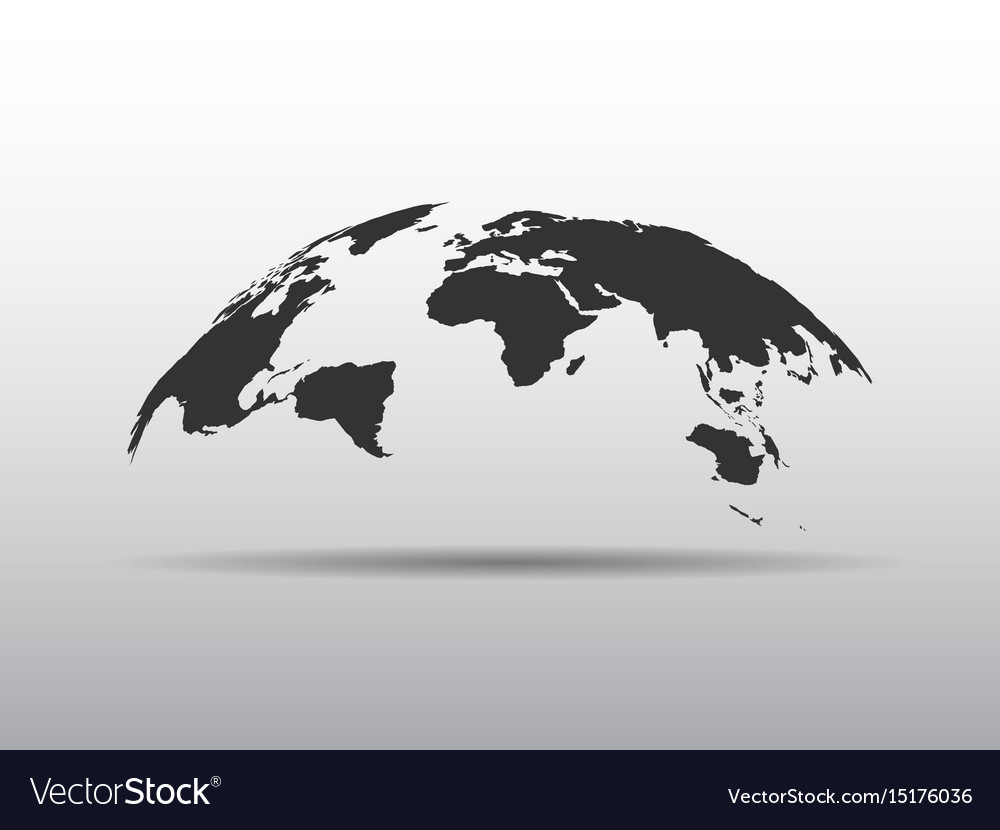 World map bulging in a shape of globe abstract vector image