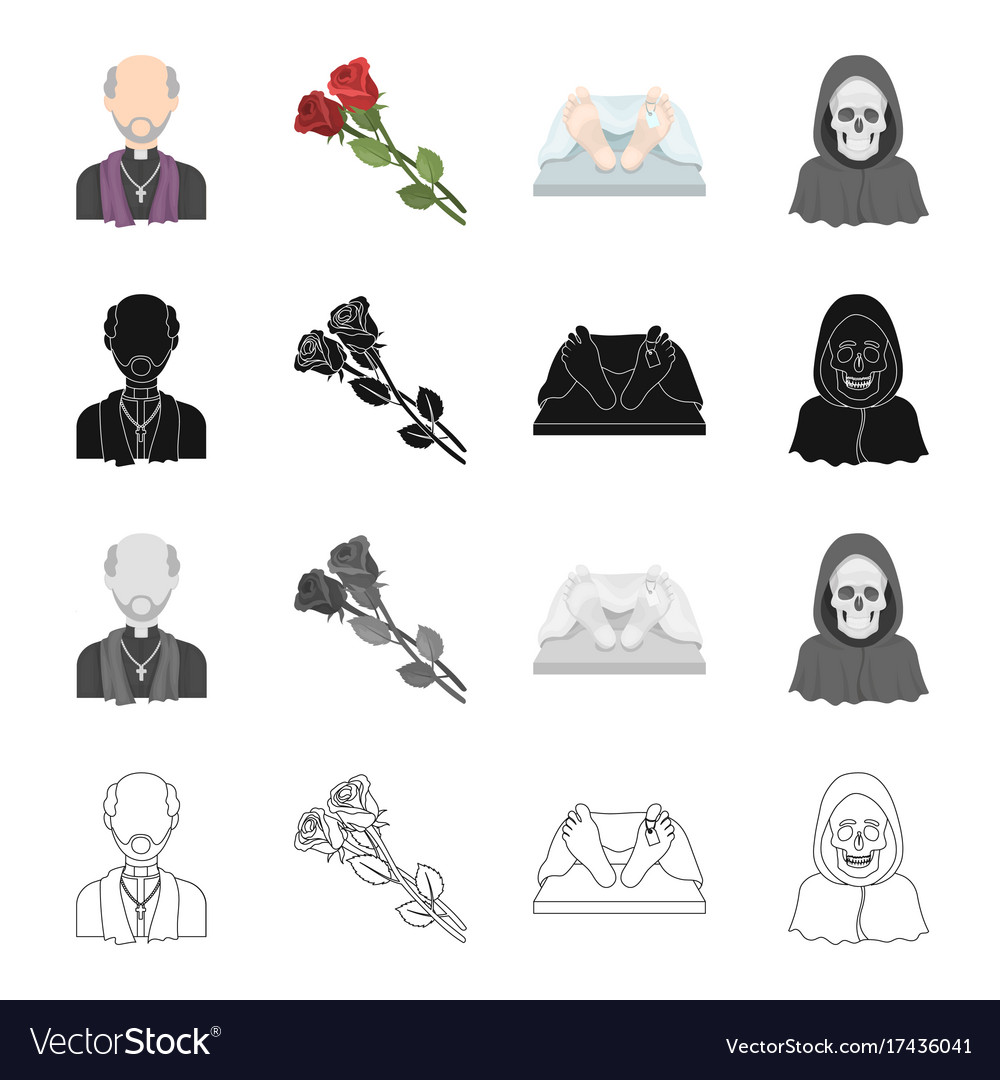 A Priest Flowers For A Funeral A Deceased Person Vector Image