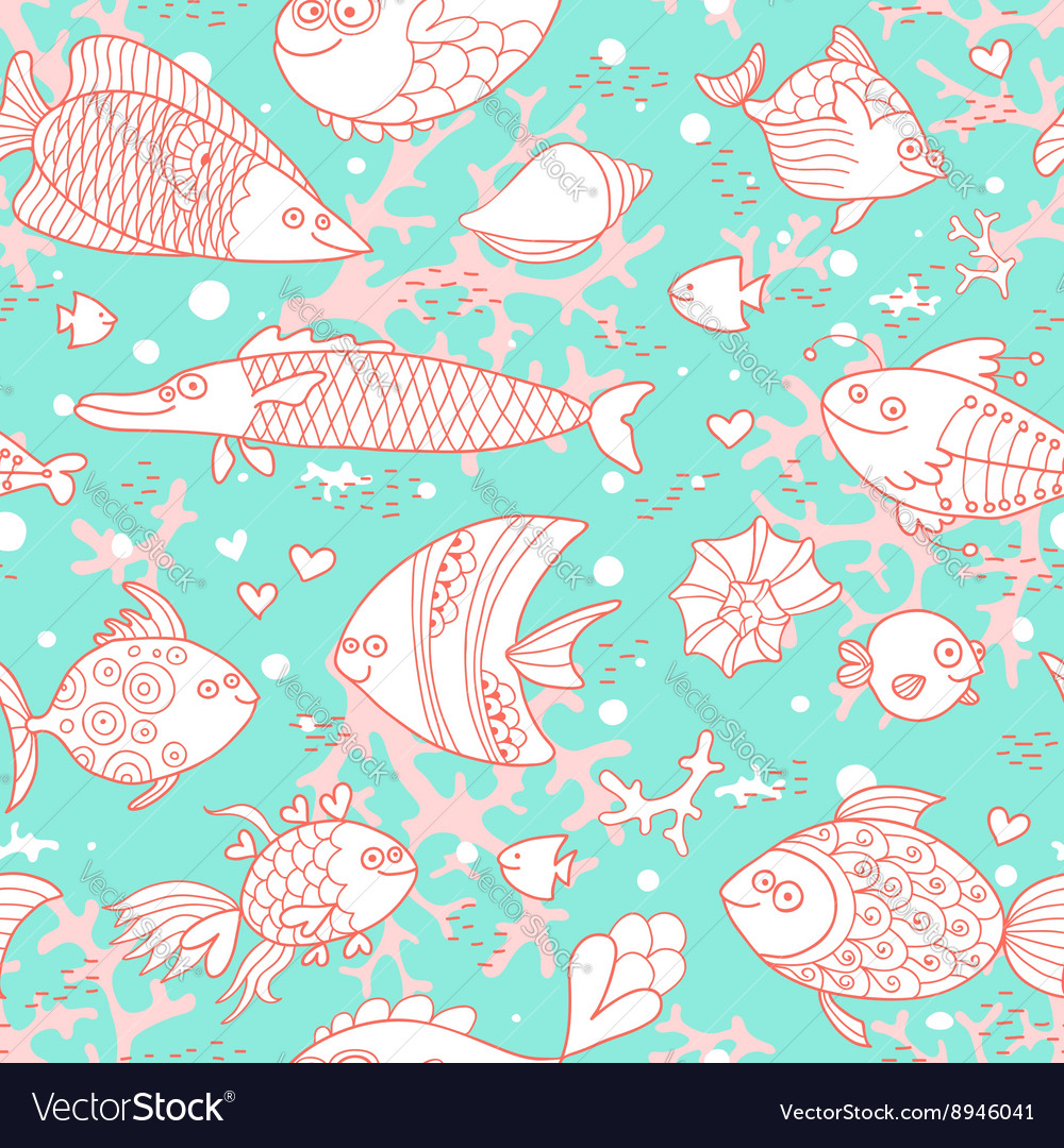 Background of underwater world Seamless pattern