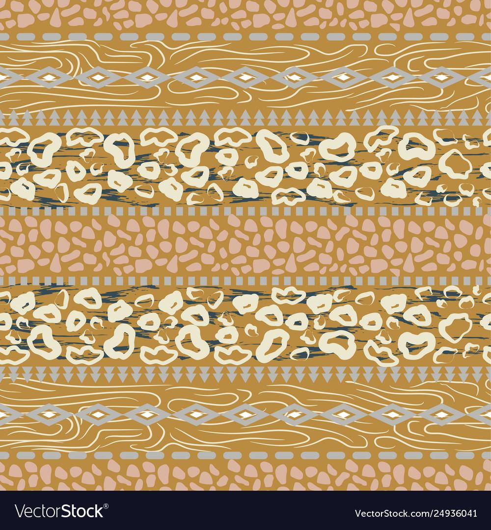 Boho leopard stains wild geometric seamless