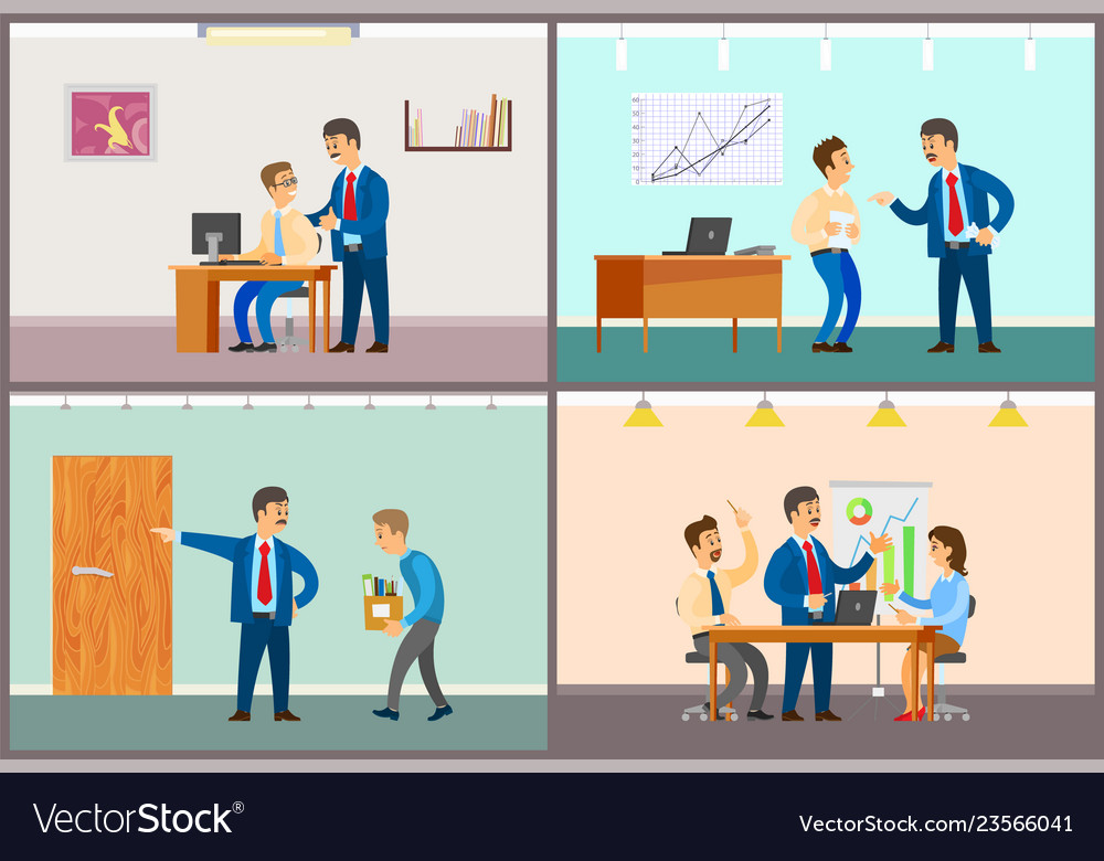 Boss and employee interaction office work routine