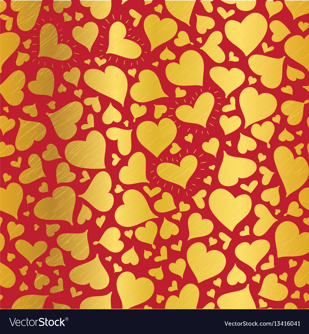 Golden red hearts seamless pattern design