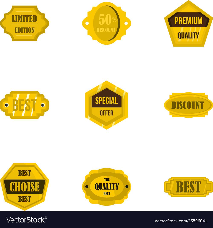 Golden retro badges icons set flat style