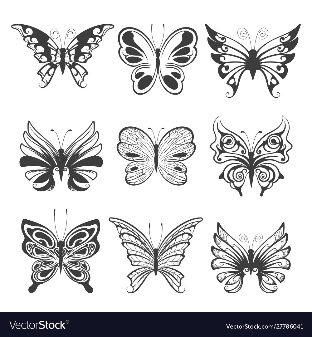 Hand drawn butterflies set isolated on white