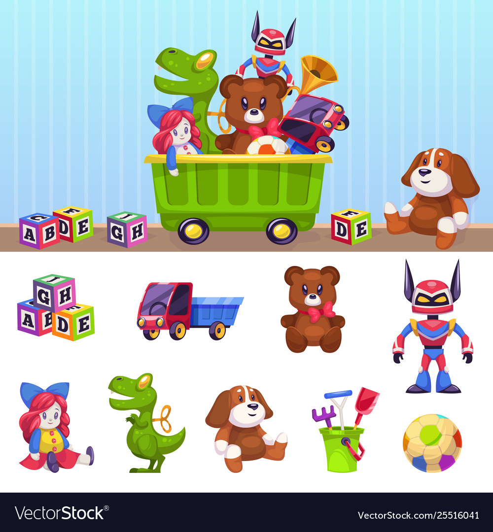 Kids toys box children toy container with playing