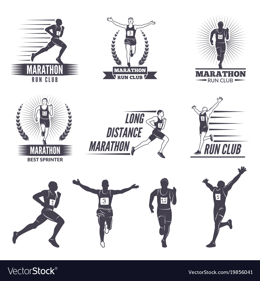 Logos or labels for runners marathon graphics
