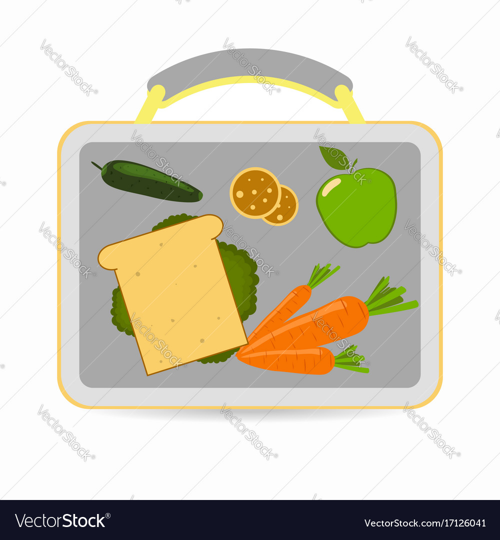 Lunchbox with school lunch vector image