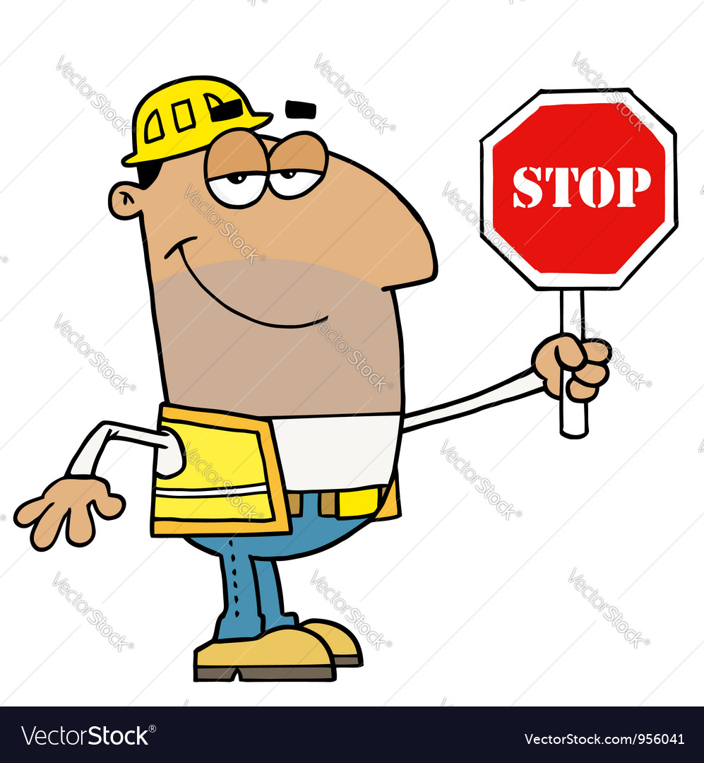 Male Hispanic Traffic Director Holding A Stop Sign vector image