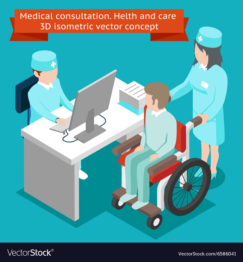 Medical consultation Health and care 3D isometric