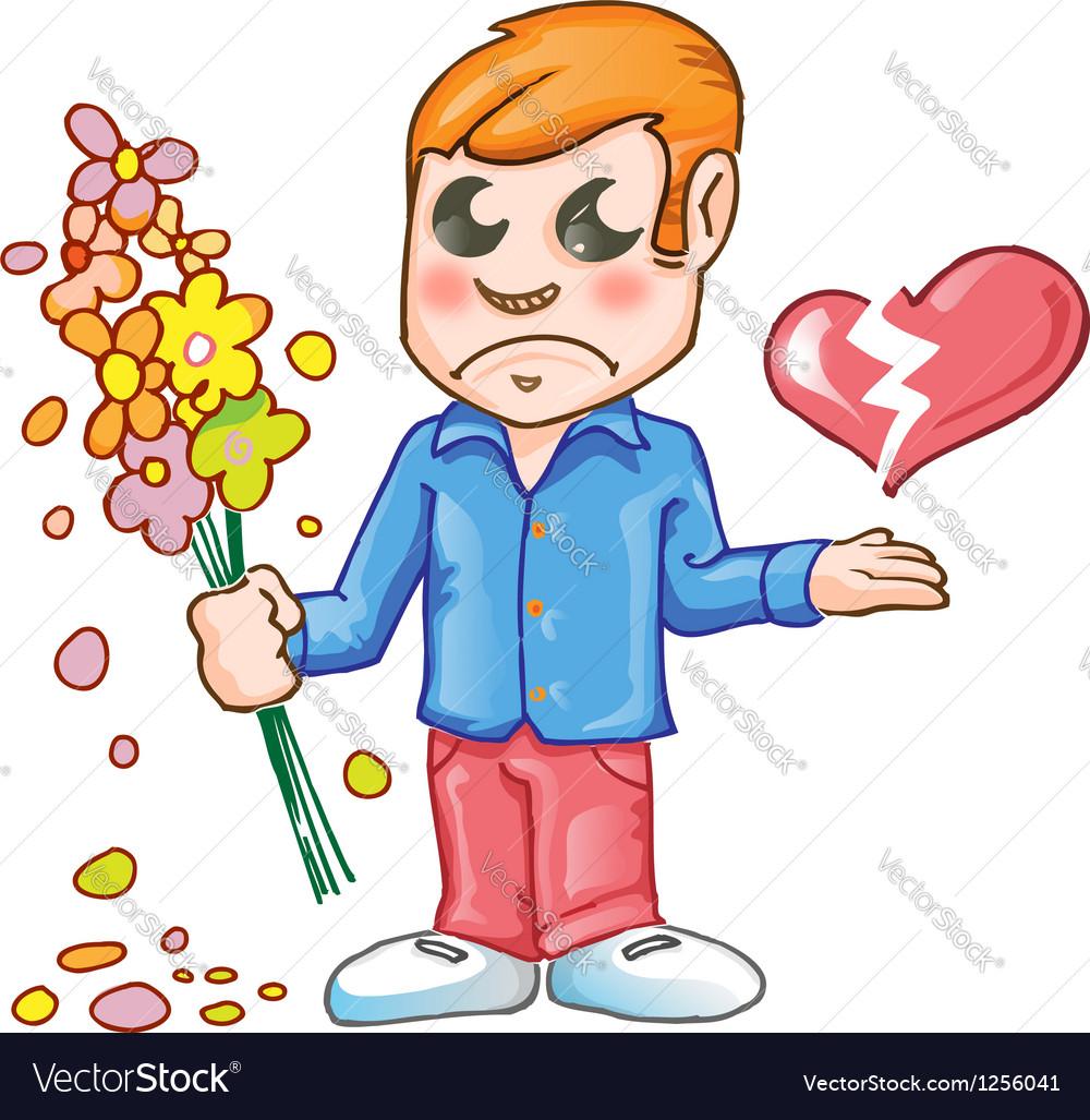 Sad for love cartoon vector image