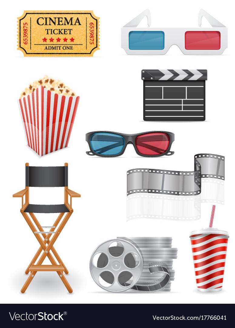 Set cinema icons stock vector image