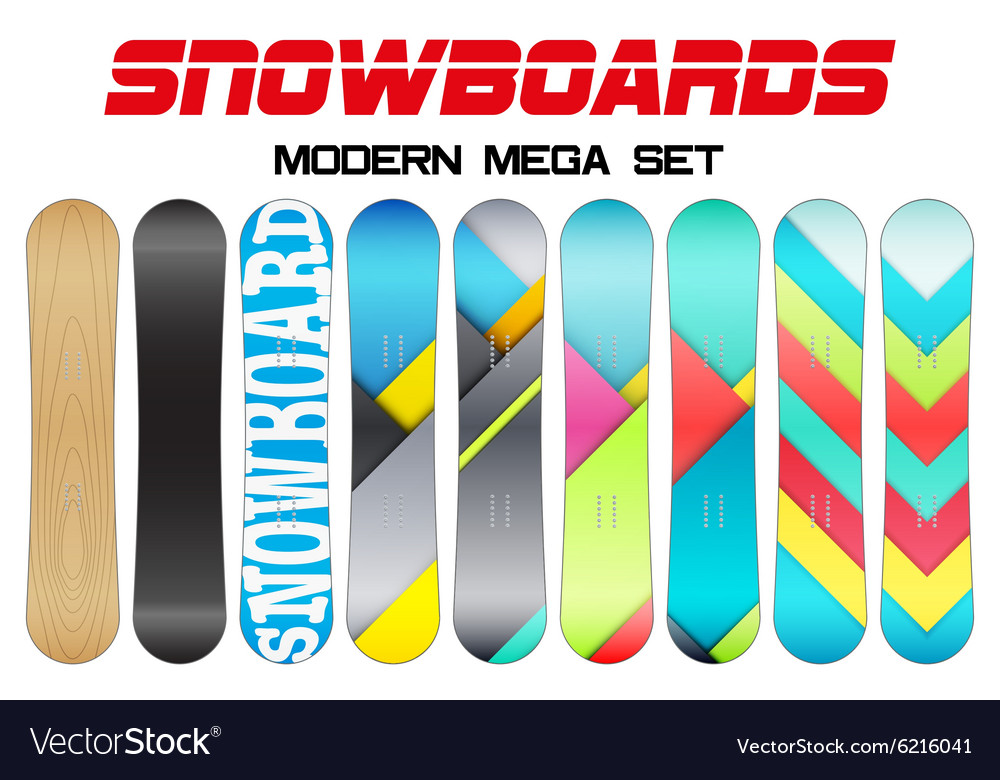 set of snowboards sample symbols royalty free vector image