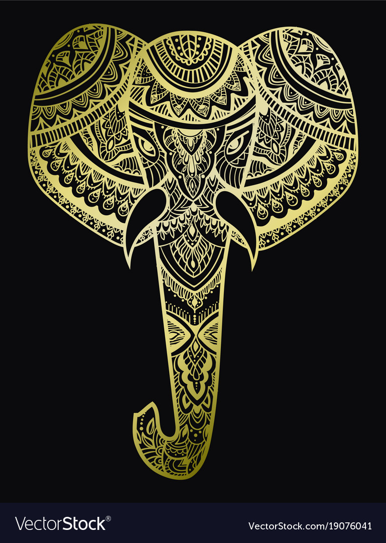 Stylized head an elephant ornamental portrait vector