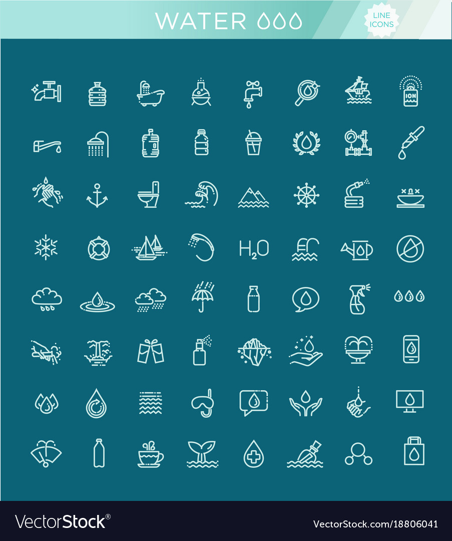 Water icon set in thin line style symbol