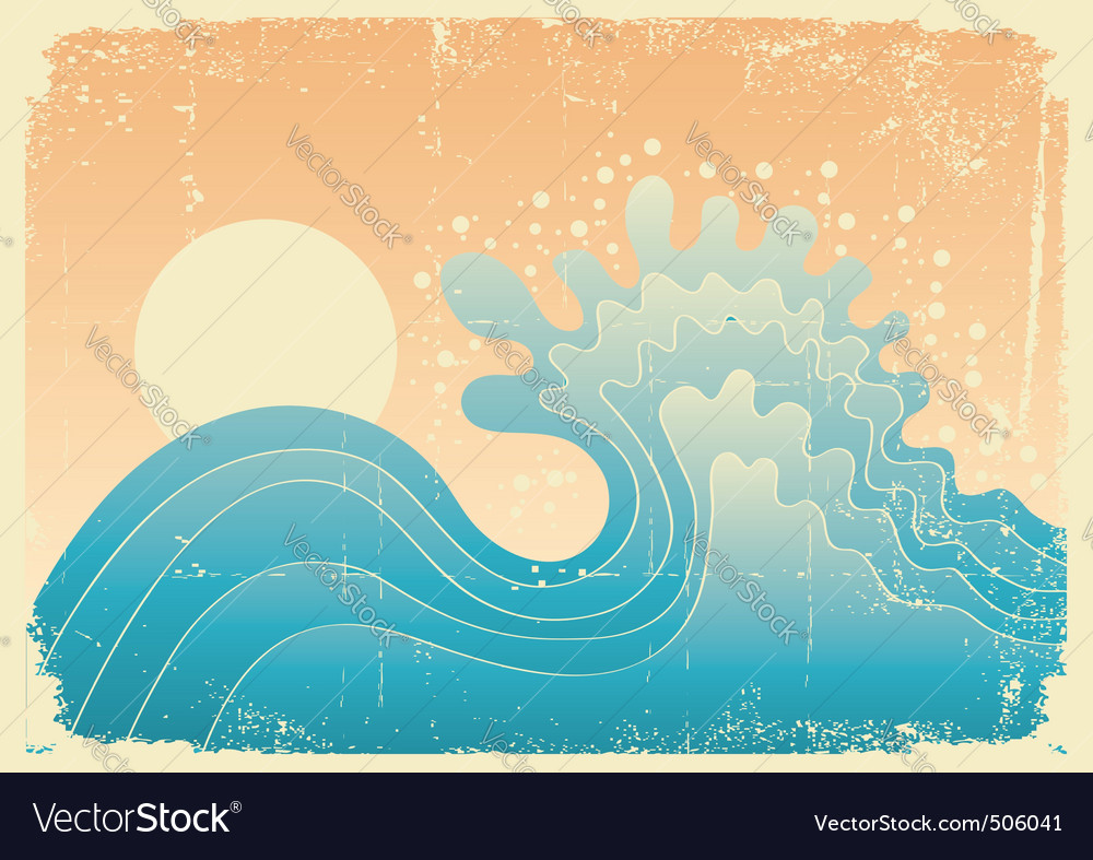 Wave in oceanwater nature background with sun