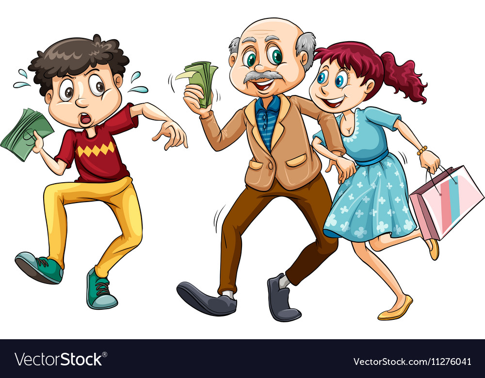 Young man and old man with money