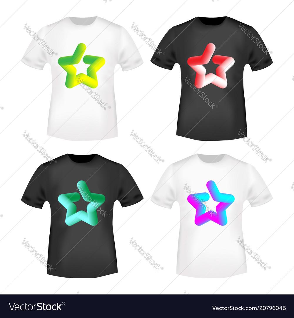 2edc8ba87 3d color star stamp and t shirt mockup Royalty Free Vector