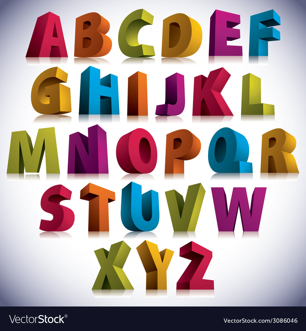 3D font big colorful letters standing
