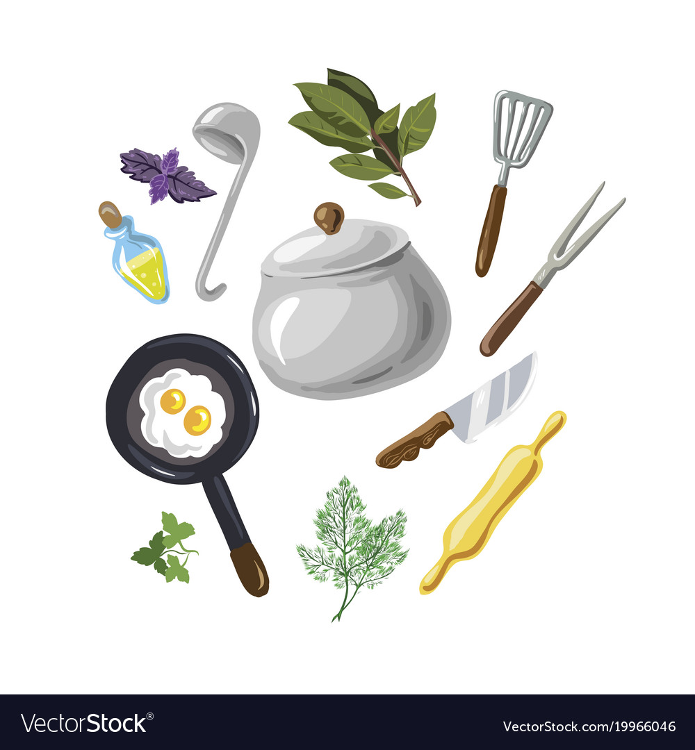 A set for cooking eggs greenery hand drawn on