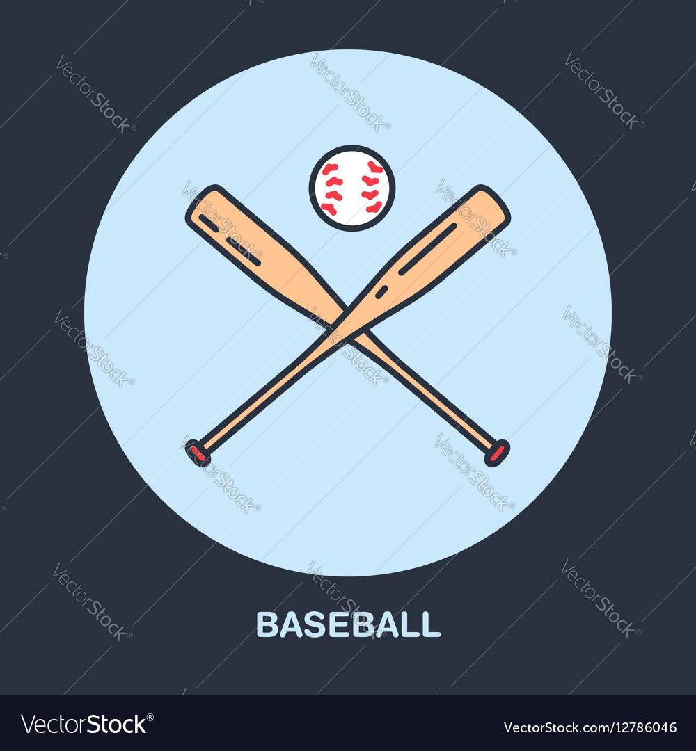 Baseball softball line icon Bats and ball