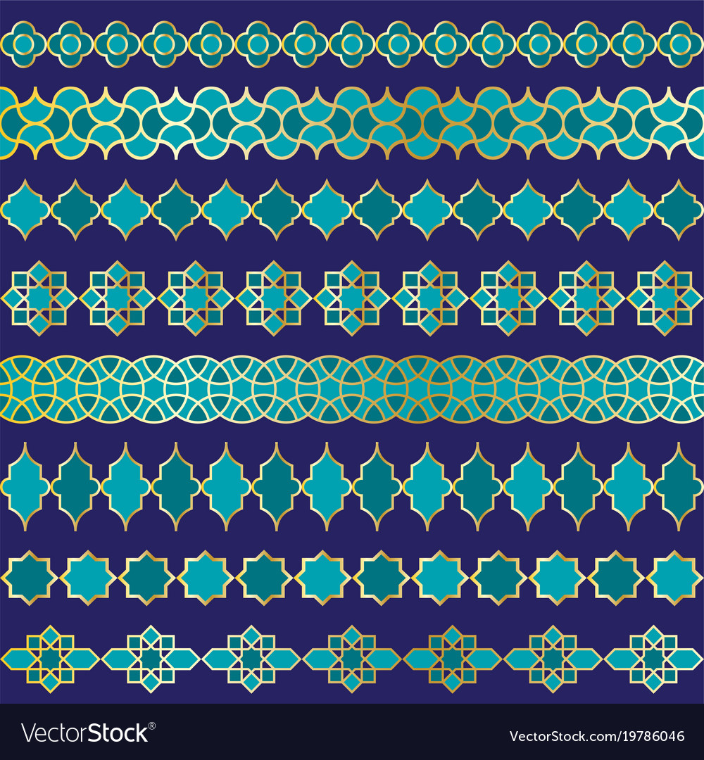 Blue and gold moroccan border patterns vector image