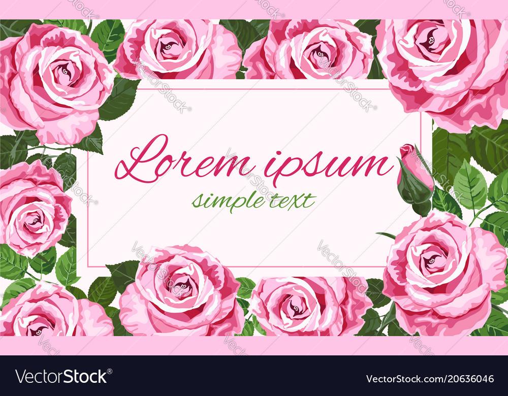Bright pink roses wedding invitations Royalty Free Vector