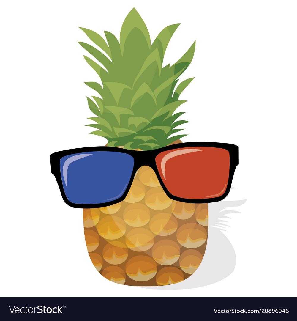 Cartoon pineapple in glasses for