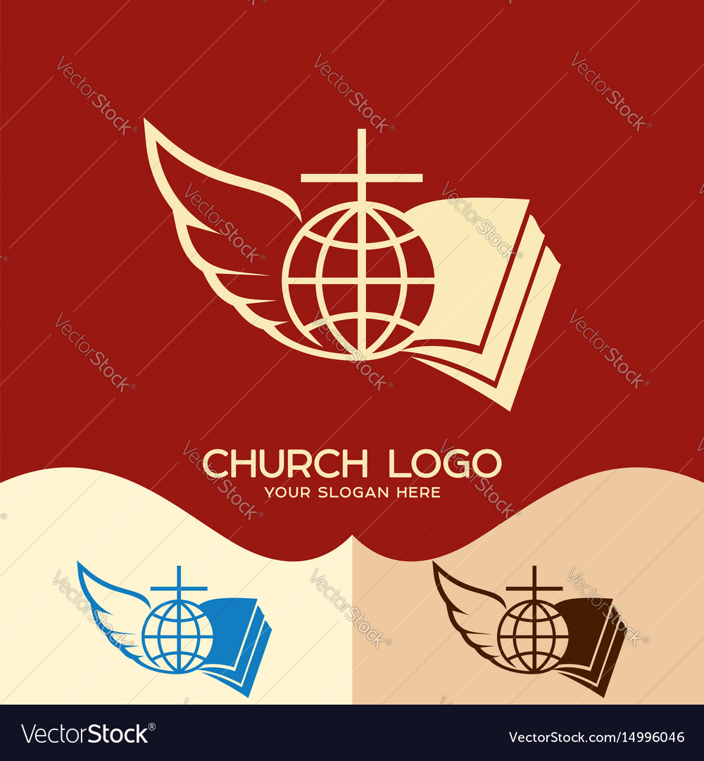 Cross of jesus open bible globe and angel wing