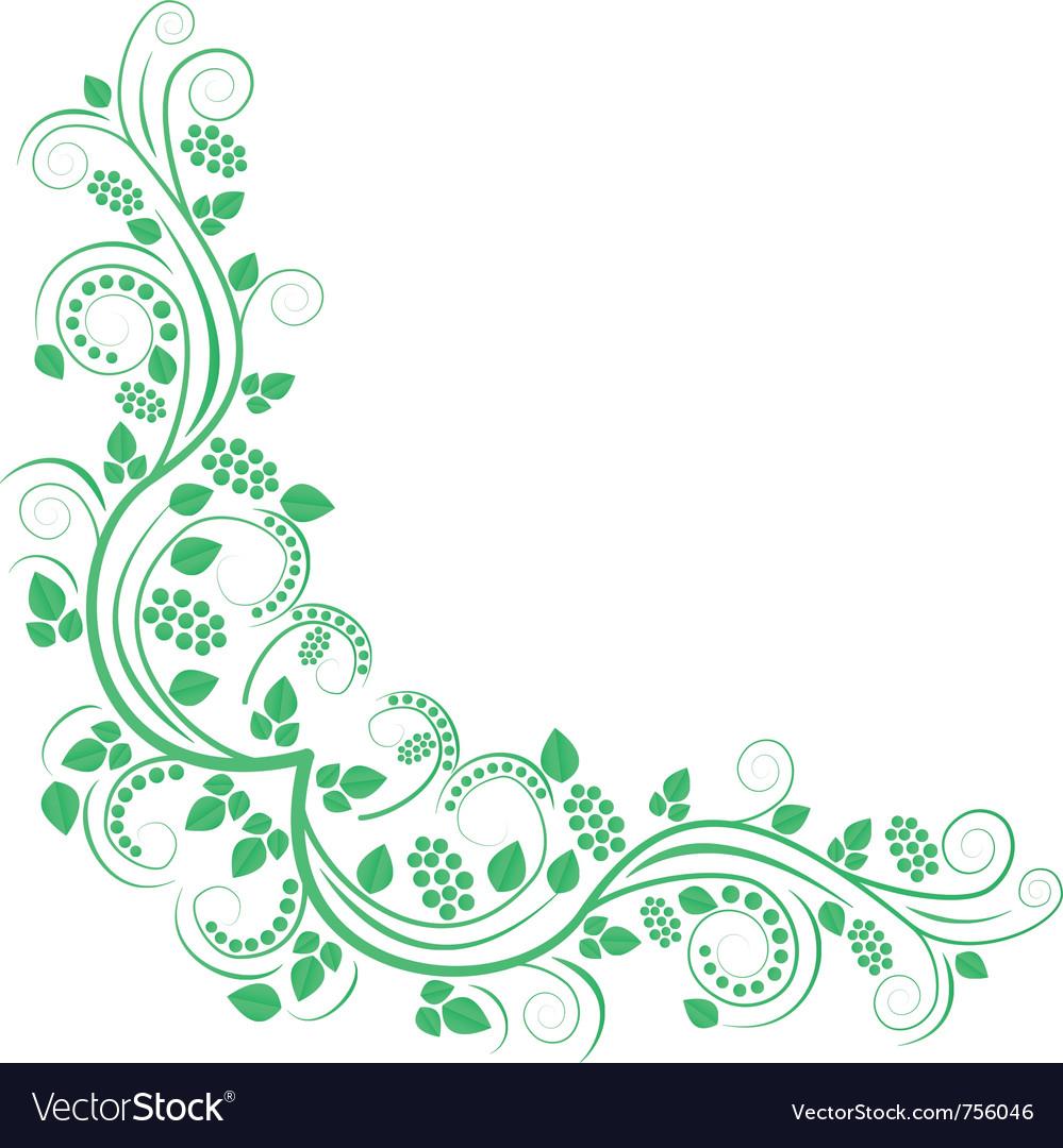 floral decorative corner green royalty free vector image vectorstock