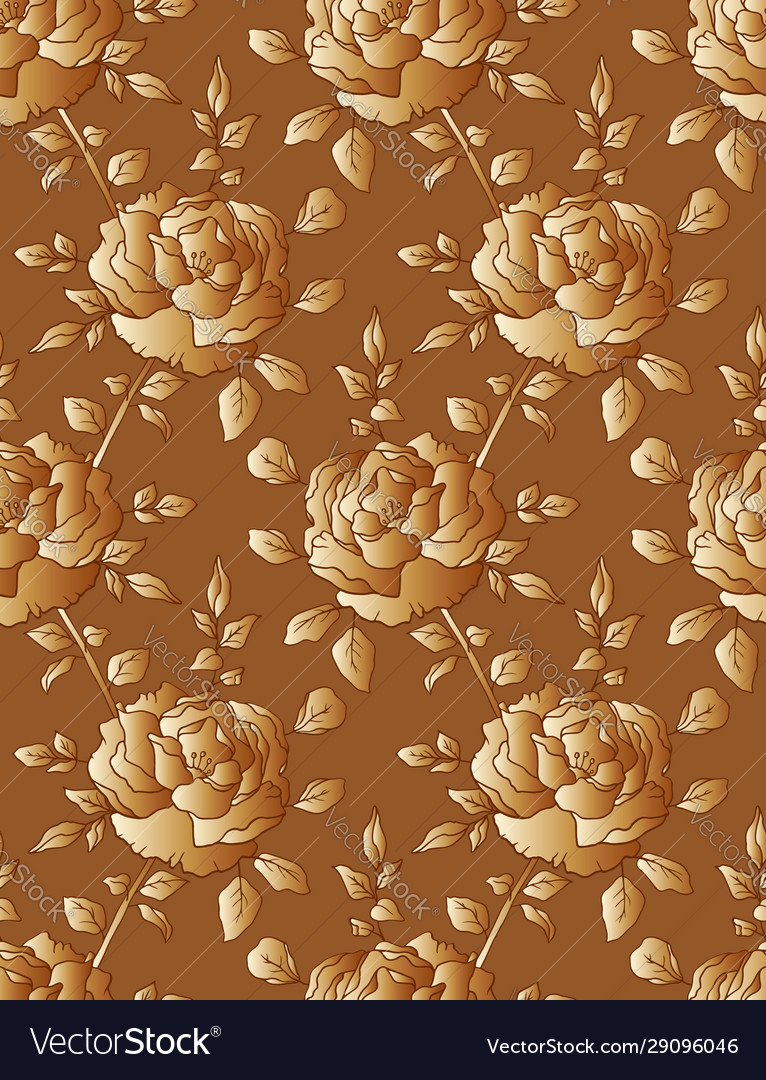 Golden roses seamless floral pattern