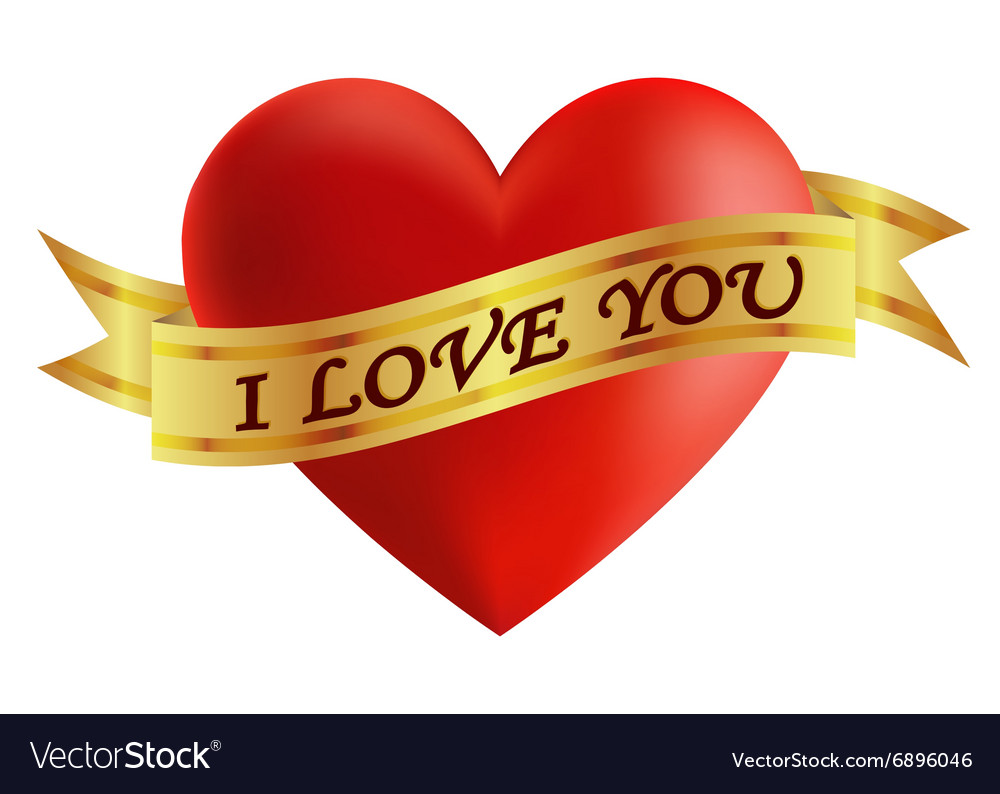 Heart with a gold ribbon isolated object vector image