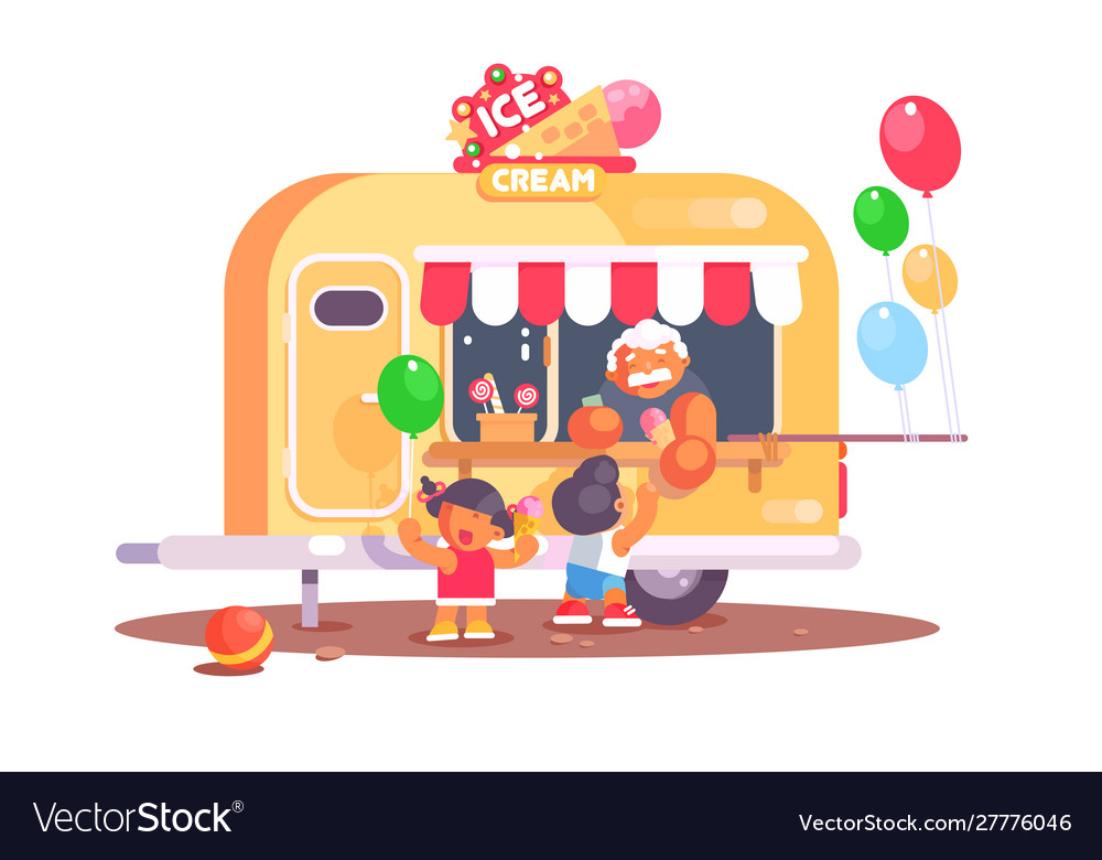 Ice cream van with colorful air balloons