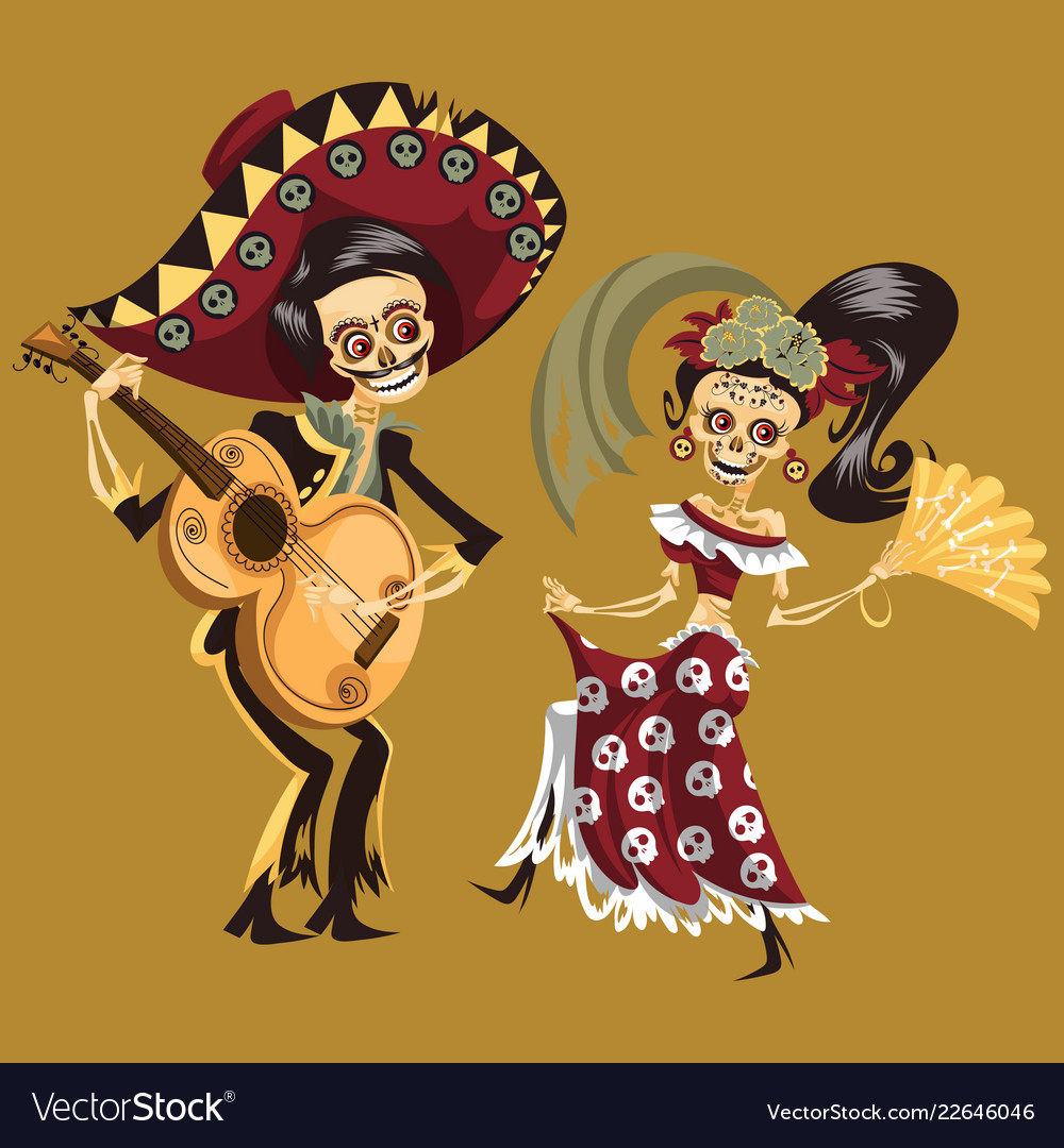 Man and woman skeletons dancing at party poster